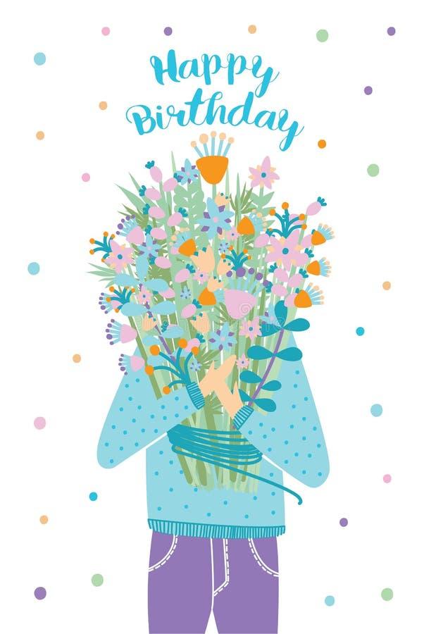 Tarjeta de felicitación del feliz cumpleaños Huésped con el ramo de la flor Ejemplo del vector, postal de la historieta stock de ilustración