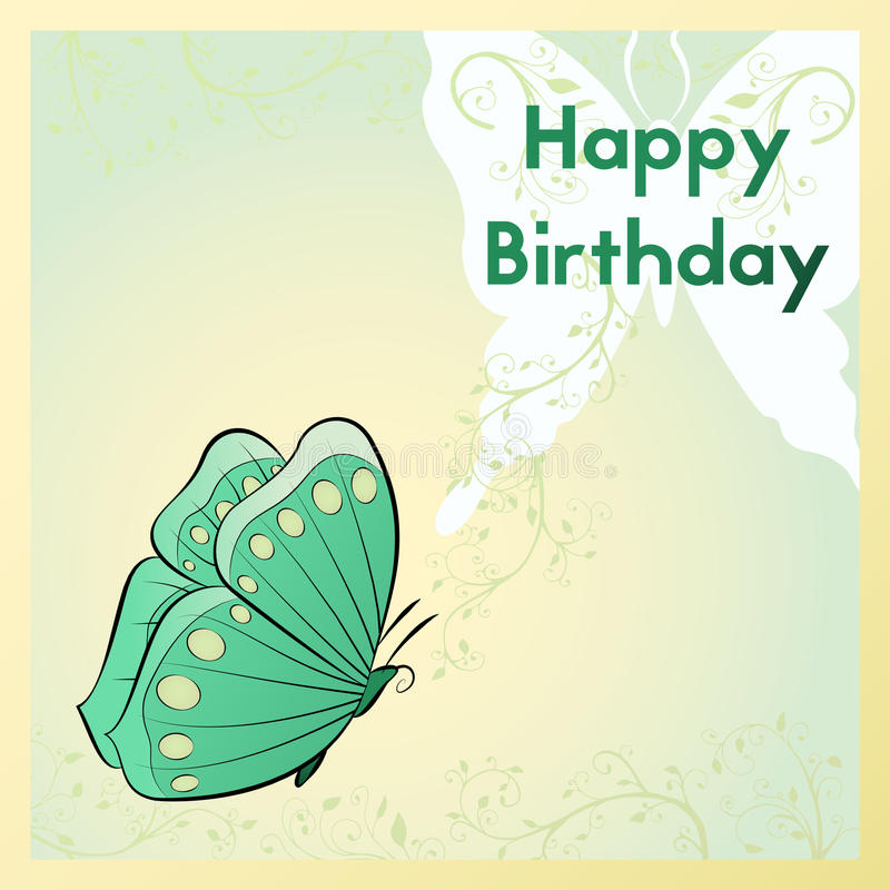 Tarjeta de felicitación del feliz cumpleaños La postal está con una mariposa y las plantas stock de ilustración