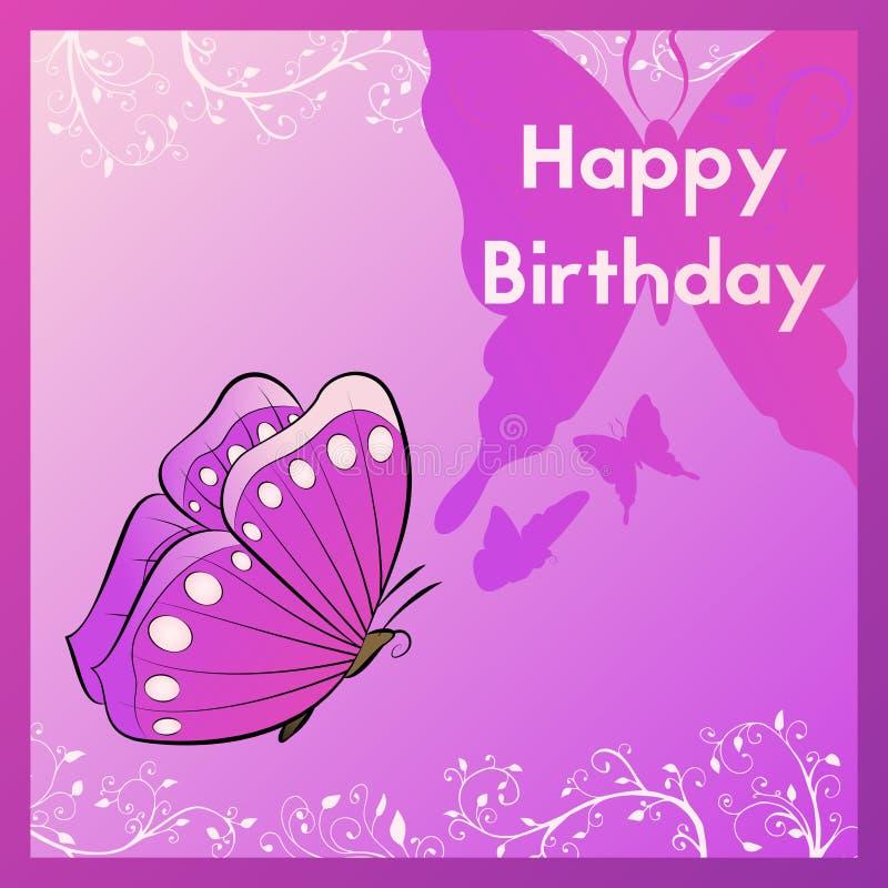 Tarjeta de felicitación del feliz cumpleaños La postal se adorna con una mariposa y se va La plantilla para la enhorabuena en los ilustración del vector