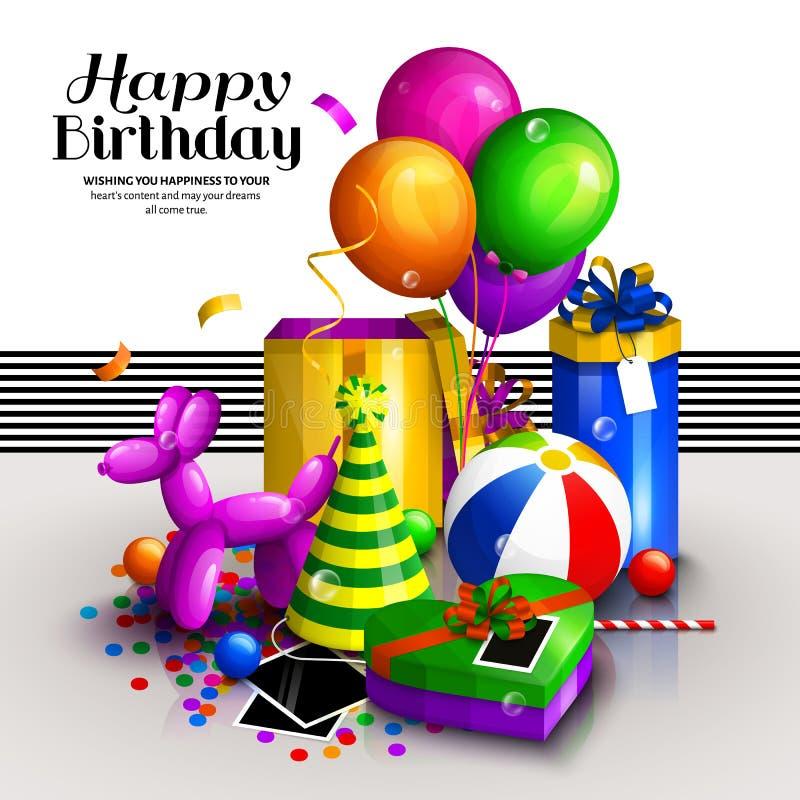 Tarjeta de felicitación del feliz cumpleaños Pila de cajas de regalo envueltas coloridas Vaya de fiesta los globos, globo del per libre illustration