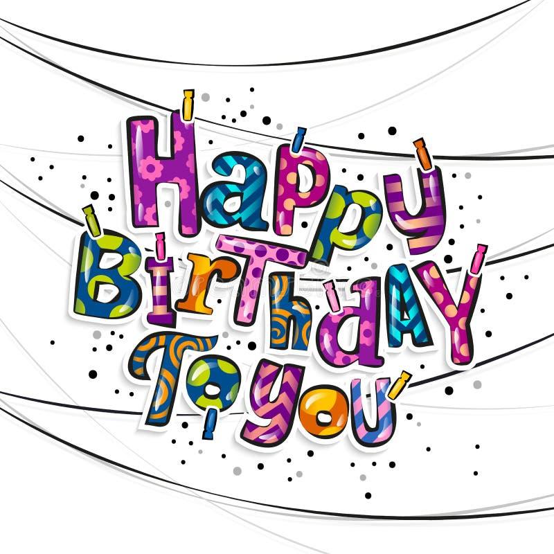 Tarjeta de felicitación del feliz cumpleaños Pinzas y letras coloridas que cuelgan en cuerda Vector libre illustration