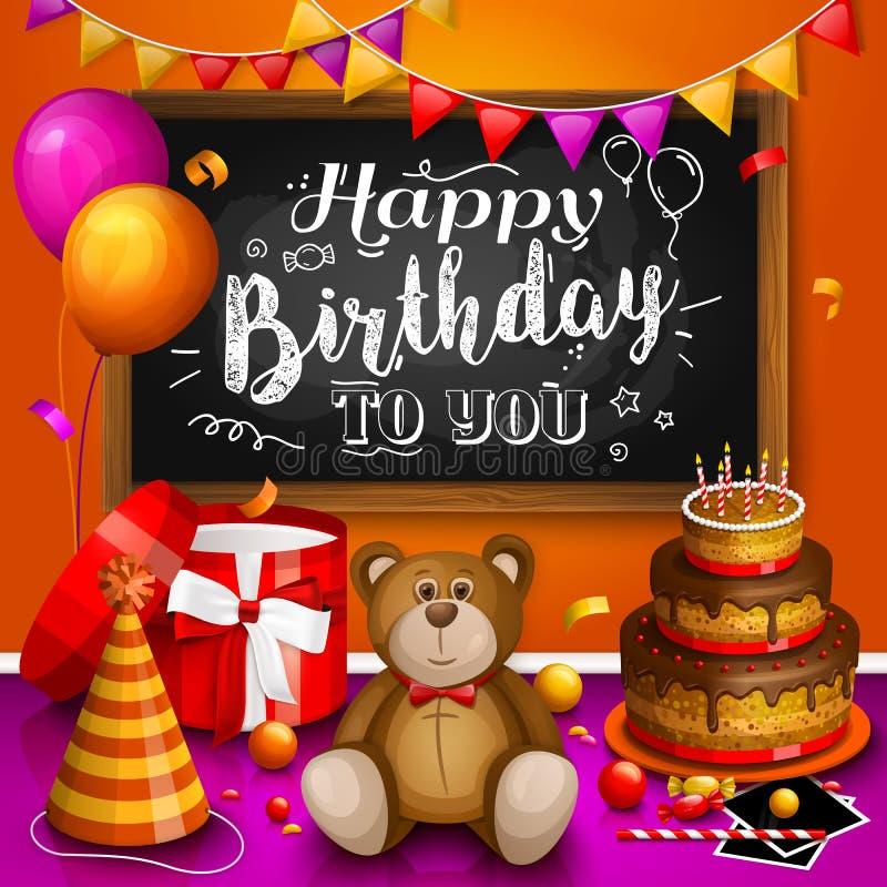 Tarjeta de felicitación del feliz cumpleaños Rectángulo de regalo colorido Porciones de presentes Vaya de fiesta el sombrero, mar libre illustration