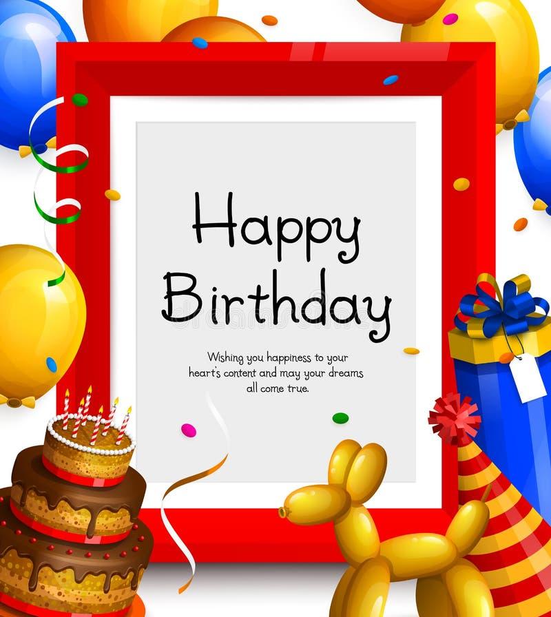 Tarjeta de felicitación del feliz cumpleaños Vaya de fiesta los globos, el marco rojo para su texto, la torta, la caja de regalo, ilustración del vector