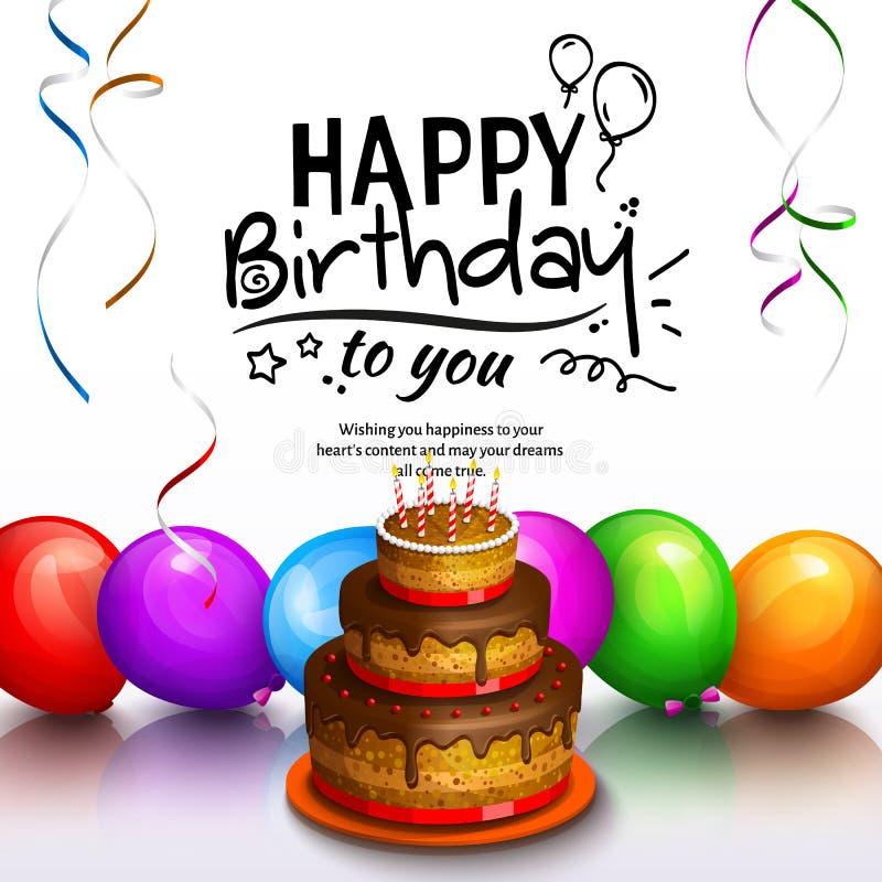 Tarjeta de felicitación del feliz cumpleaños Vaya de fiesta los globos multicolores, la torta, las flámulas y las letras stilish  ilustración del vector