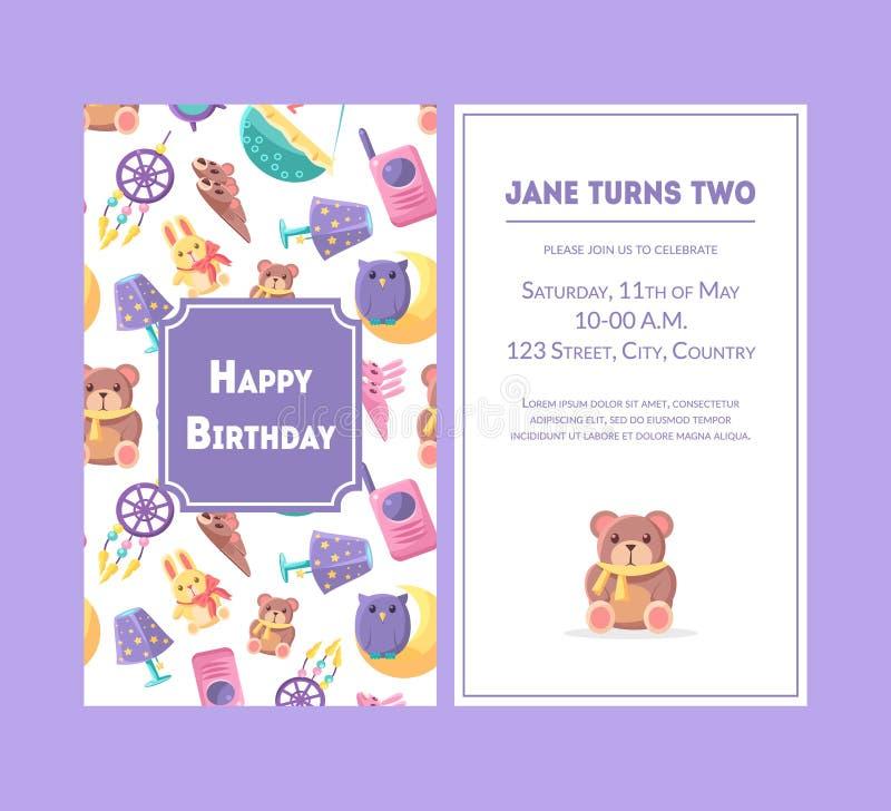 Tarjeta de felicitación del feliz cumpleaños, Violet Party Invitation Template para el ejemplo del vector de la celebración del c stock de ilustración