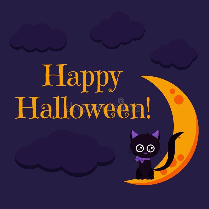 Tarjeta de felicitación del feliz Halloween con el gato negro del carácter dulce y lindo con el arco púrpura ilustración del vector