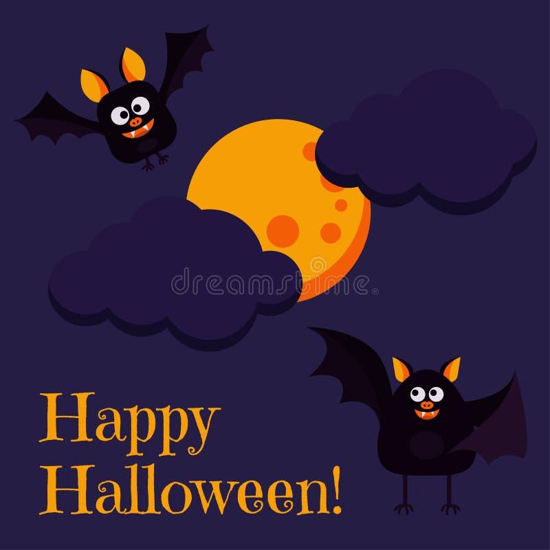 Tarjeta de felicitación del feliz Halloween con el vuelo negro de dos palos de los caracteres lindos cerca de la Luna Llena stock de ilustración