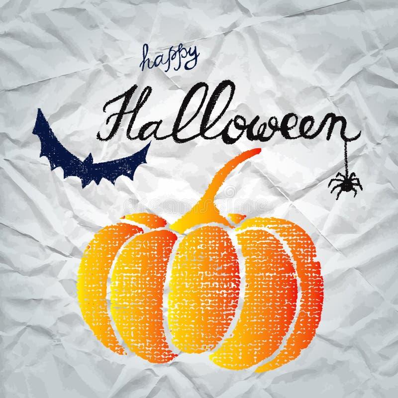 Tarjeta de felicitación del feliz Halloween con la calabaza libre illustration