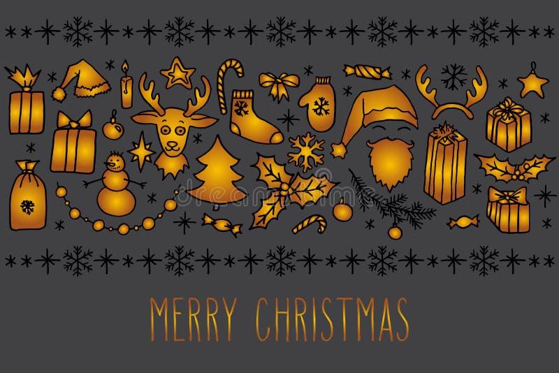 Tarjeta de felicitación del garabato de la Navidad stock de ilustración