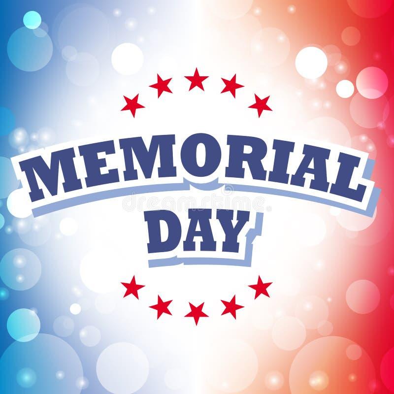 Tarjeta de felicitación del Memorial Day ilustración del vector