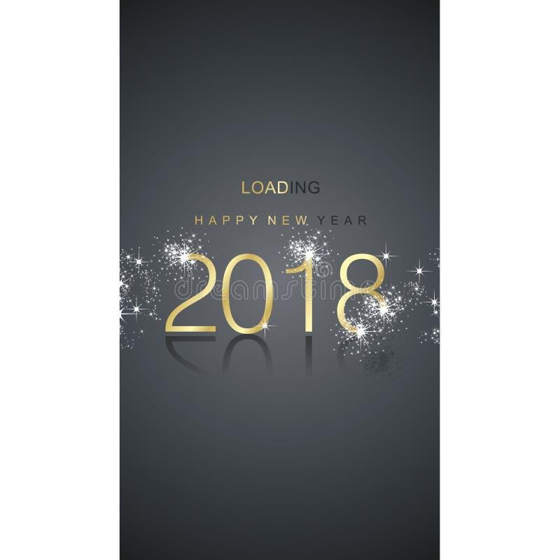 Tarjeta 2018 de felicitación del negro del oro del fuego artificial de la chispa del cargamento de la Feliz Año Nuevo ilustración del vector