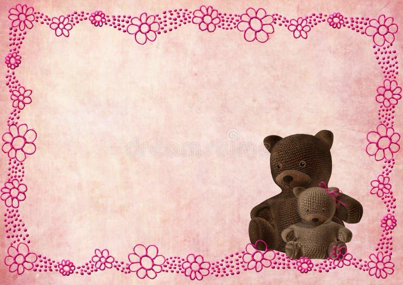 Tarjeta de felicitación del oso del peluche con las flores rosadas libre illustration