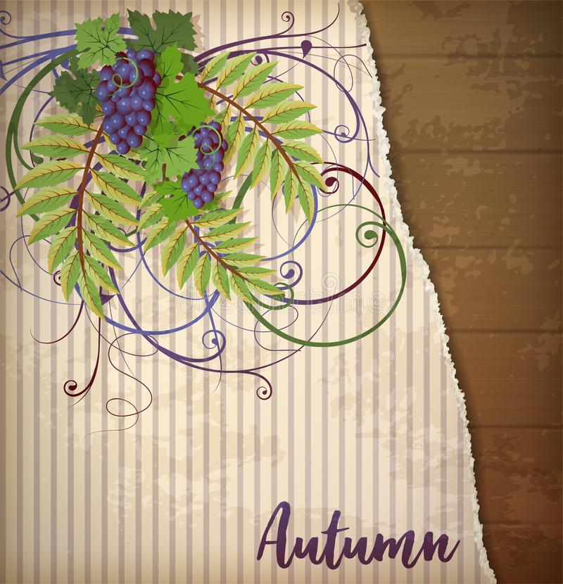 Tarjeta de felicitación del otoño con la uva, vector libre illustration