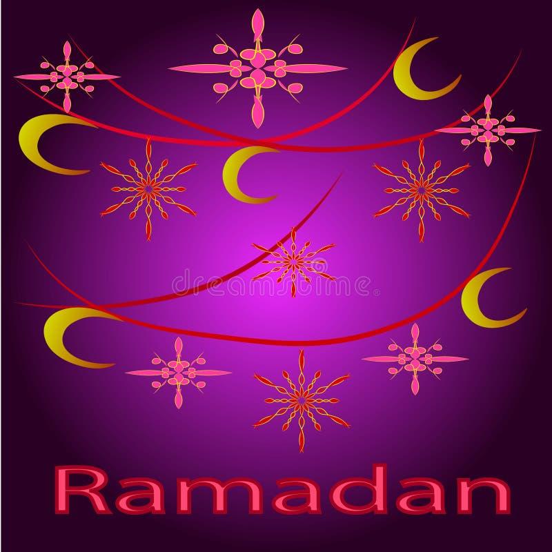 Tarjeta de felicitación del Ramadán con la luna y las estrellas abstractas ilustración del vector