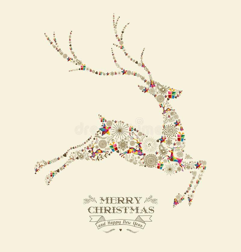 Tarjeta de felicitación del reno del vintage de la Feliz Navidad ilustración del vector