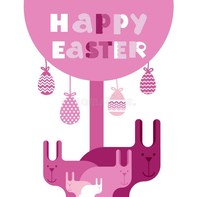 Tarjeta de felicitación del rosa de Bunny Happy Easter Holiday Banner del grupo del conejo plana libre illustration