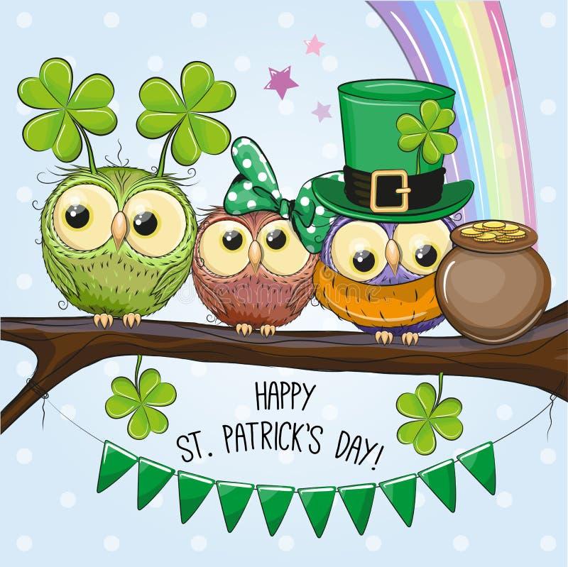 Tarjeta de felicitación del St Patricks con tres búhos stock de ilustración