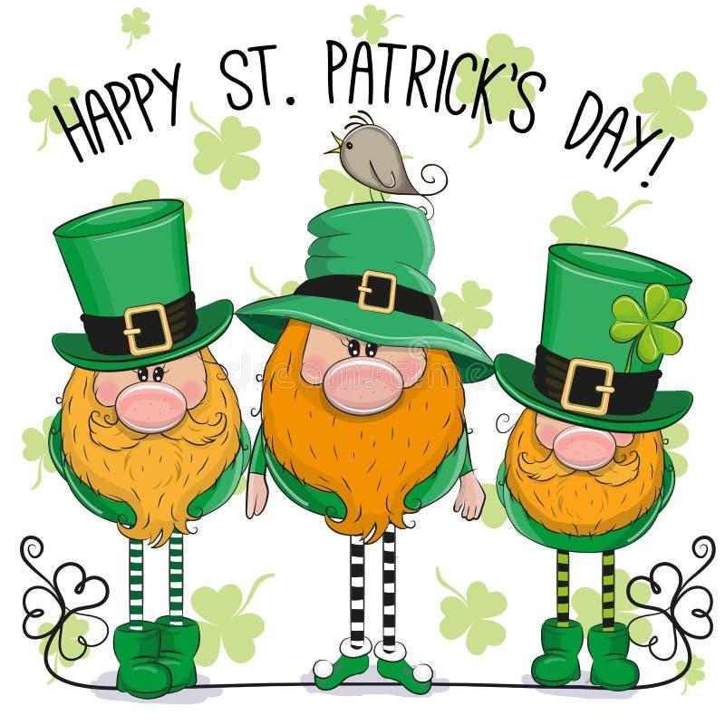 Tarjeta de felicitación del St Patricks con tres duendes stock de ilustración