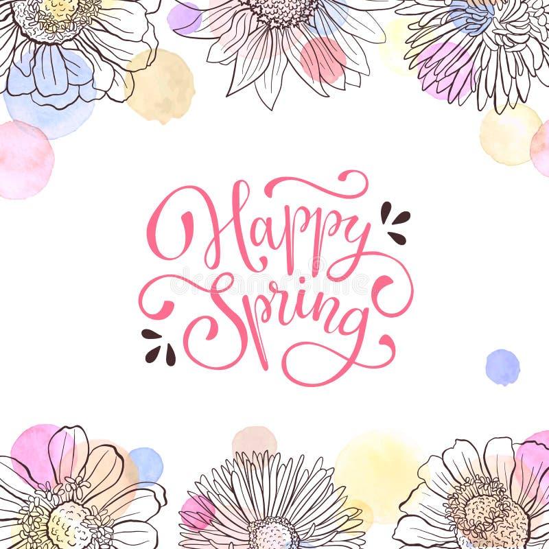 Tarjeta de felicitación del tiempo de primavera stock de ilustración