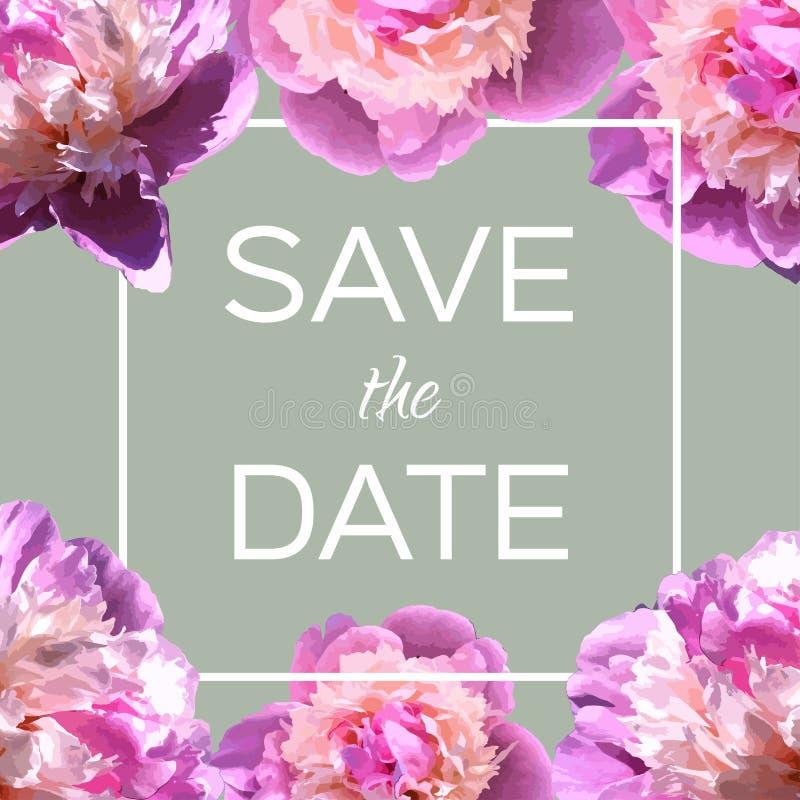 Tarjeta de felicitación del vector con las peonías Invitación de la boda o del cumpleaños con las flores Primavera o fondo del ve stock de ilustración