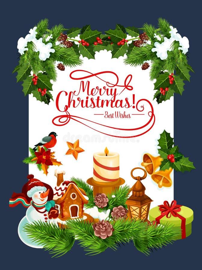 Tarjeta de felicitación del vector del día de fiesta de la Feliz Navidad stock de ilustración