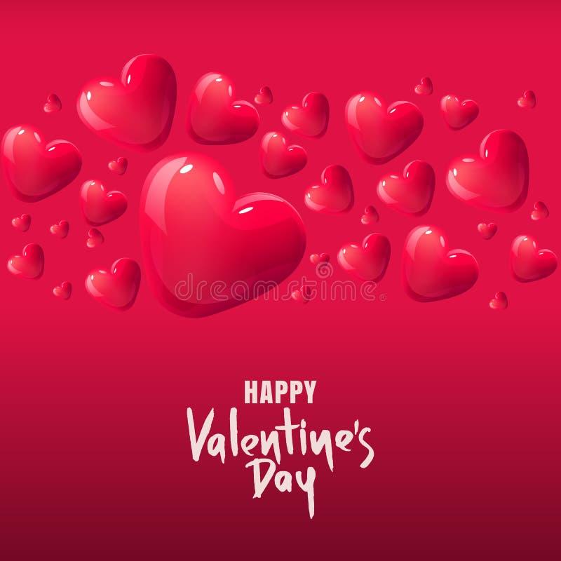 Tarjeta de felicitación del vector del día de tarjetas del día de San Valentín corazones de cristal rojos 3d Fondo para el cartel stock de ilustración