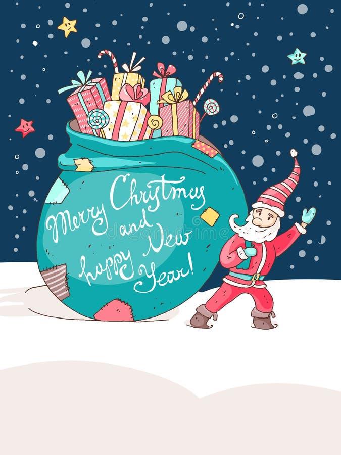 Tarjeta de felicitación del vector de la Navidad y del Año Nuevo Pequeño Santa ilustración del vector