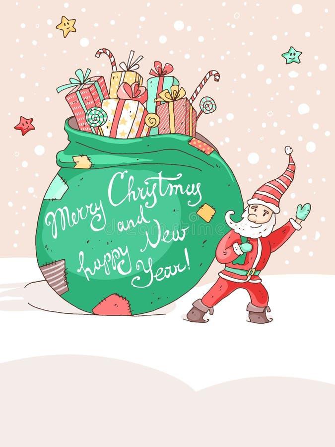 Tarjeta de felicitación del vector de la Navidad y del Año Nuevo Pequeño Santa libre illustration