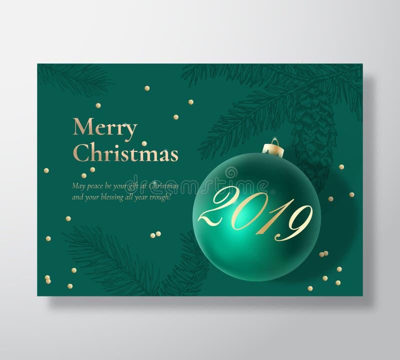 Tarjeta de felicitación del vector del extracto de la Feliz Navidad, cartel o fondo del día de fiesta Verde y colores oro con cla stock de ilustración