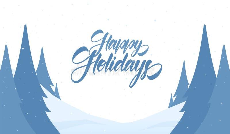Tarjeta de felicitación del vector Fondo de la Navidad Nevado con las letras de la mano de buenas fiestas y los pinos ilustración del vector