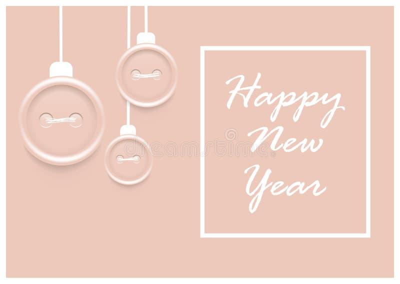 Tarjeta de felicitación del vector de la Feliz Año Nuevo 2019/bandera rosadas con las chucherías y la escritura de costura de la  stock de ilustración