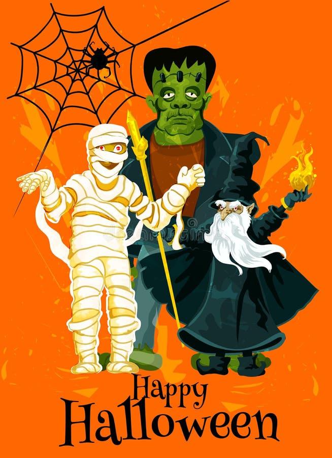 Tarjeta de felicitación del vector de la invitación del truco del feliz Halloween libre illustration