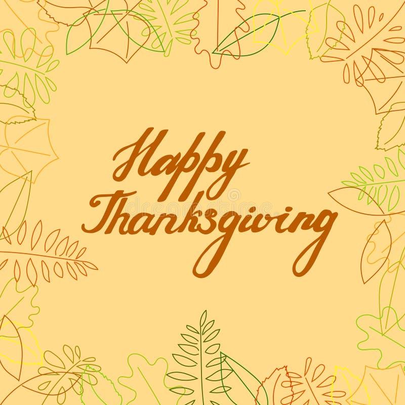 Tarjeta de felicitación del vector del otoño con poner letras a acción de gracias feliz en un marco de hojas stock de ilustración