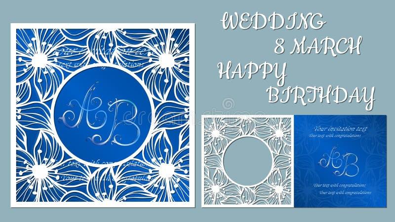 Tarjeta de felicitación del vector por días de fiesta Con la imagen de flores, orquídeas Inscripción-boda, el 8 de marzo, feliz c stock de ilustración