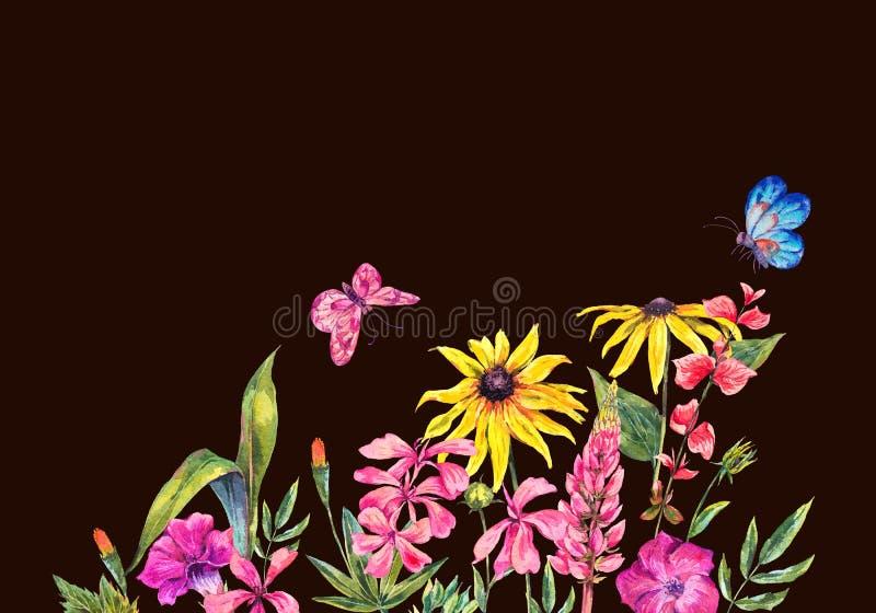Tarjeta de felicitación del verano de la acuarela con los wildflowers ilustración del vector