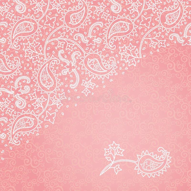 Tarjeta de felicitación del vintage con adornos florales en s del este ilustración del vector