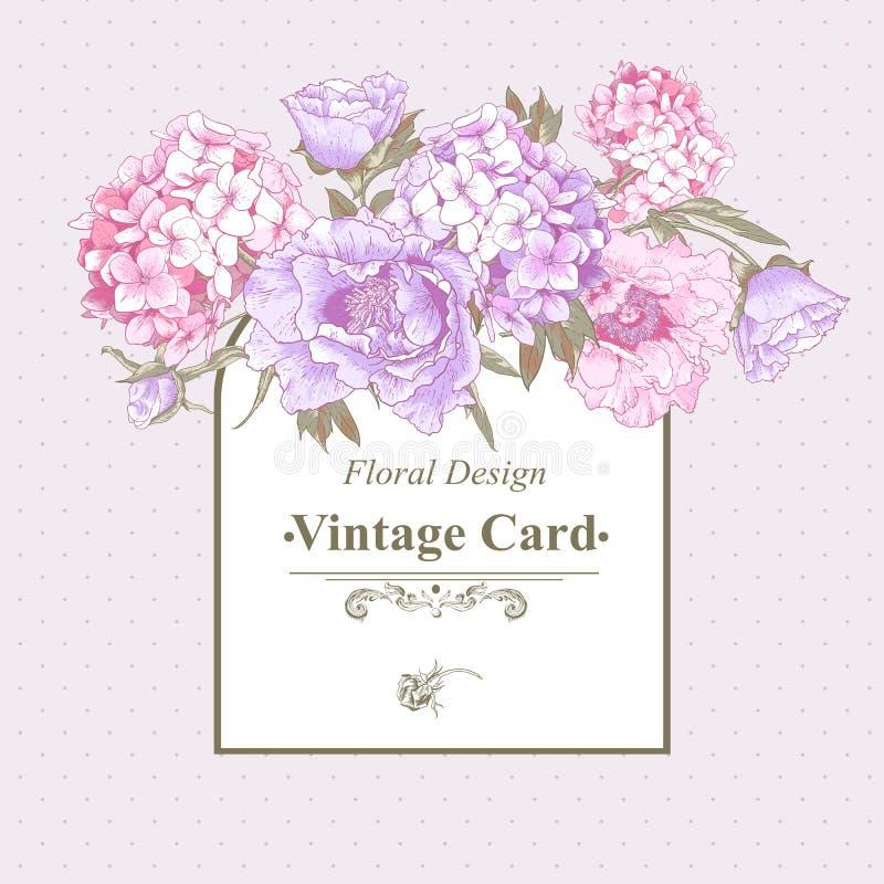 Tarjeta de felicitación del vintage con la hortensia y las peonías ilustración del vector