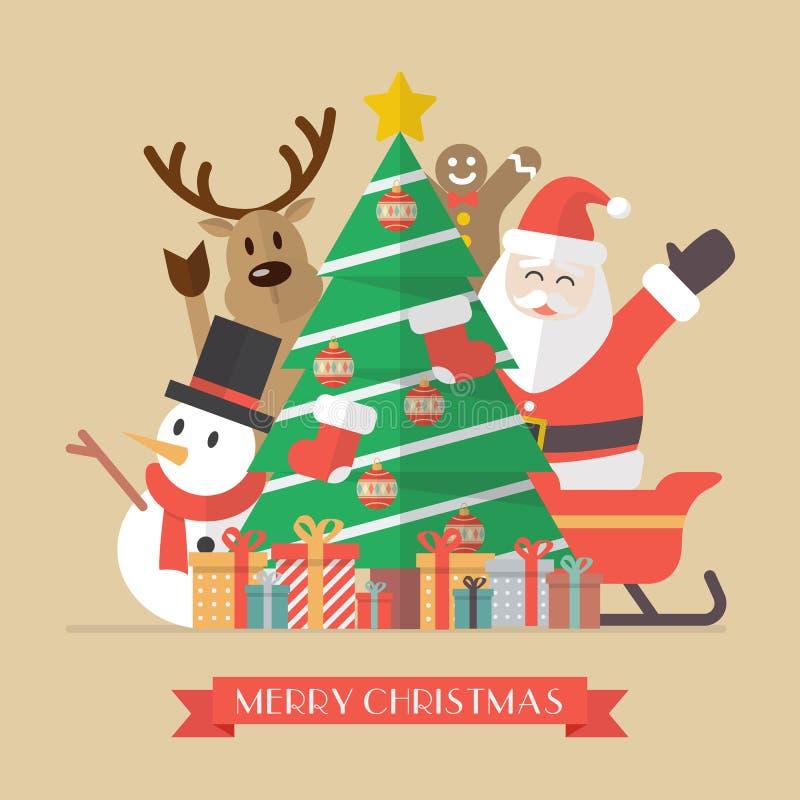Tarjeta de felicitación del vintage de la Feliz Navidad libre illustration