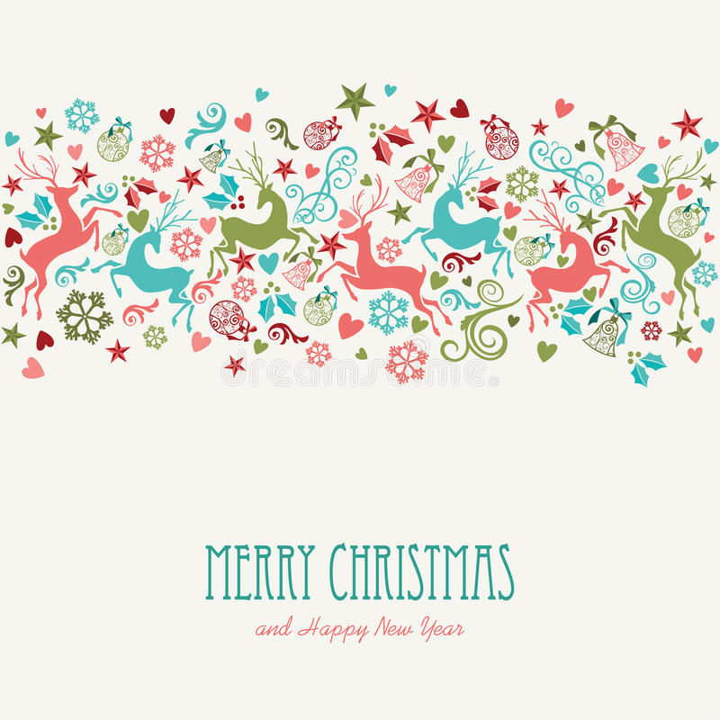 Tarjeta de felicitación del vintage de la Feliz Navidad y de la Feliz Año Nuevo libre illustration