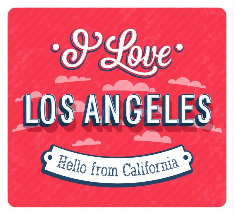 Tarjeta de felicitación del vintage de Los Ángeles - California ilustración del vector