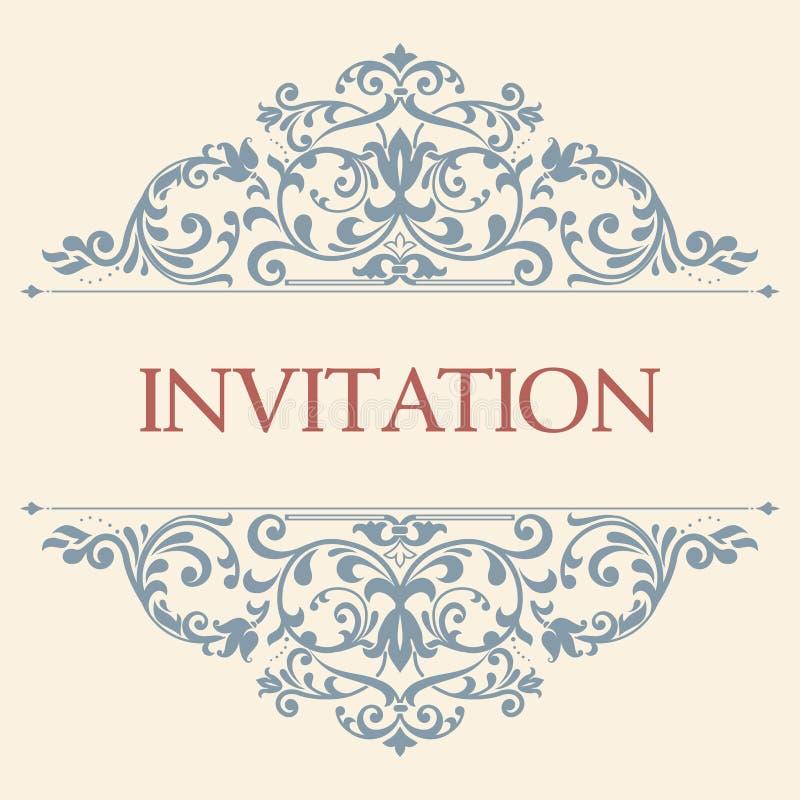 Tarjeta de felicitación del vintage, invitación con los ornamentos florales stock de ilustración