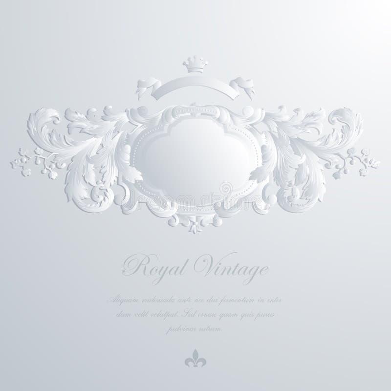 Tarjeta de felicitación del vintage y invitación elegantes de la boda ilustración del vector