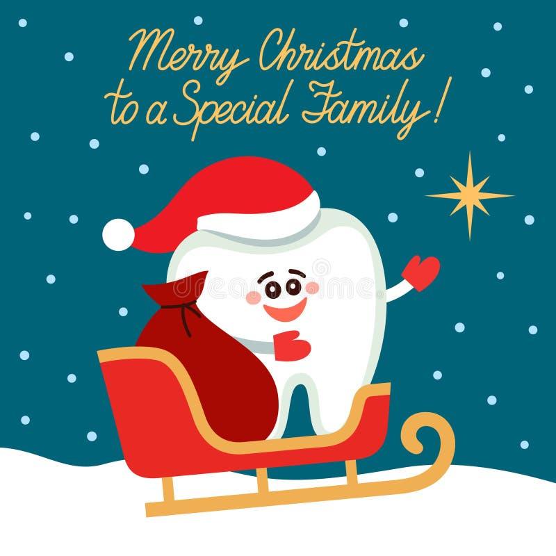 Tarjeta de felicitación dental Diente en los puntos del trineo de Papá Noel a protagonizar ilustración del vector