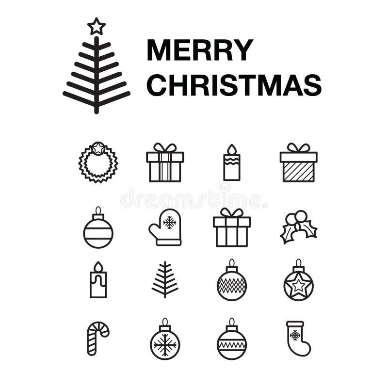 Tarjeta de felicitación determinada de la Feliz Navidad del icono con los elementos del día de fiesta en el fondo blanco libre illustration