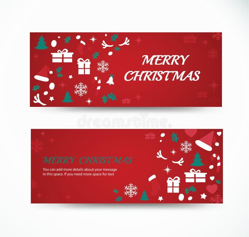 Tarjeta de felicitación determinada de la Navidad con el ejemplo del vector de los diseños de la bandera del fondo del modelo del libre illustration