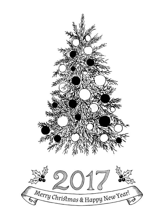 Tarjeta de felicitación dibujada mano con el árbol de navidad Ilustración del vector ilustración del vector