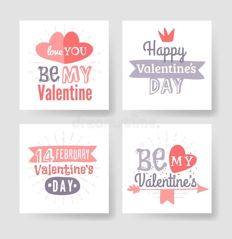Tarjeta de felicitación dibujada mano del día de tarjetas del día de San Valentín Ilustración aislada del vector stock de ilustración