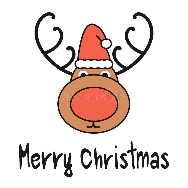 Tarjeta de felicitación dibujada mano linda del vector de la Feliz Navidad de la historieta con el reno con el sombrero del ` s d ilustración del vector