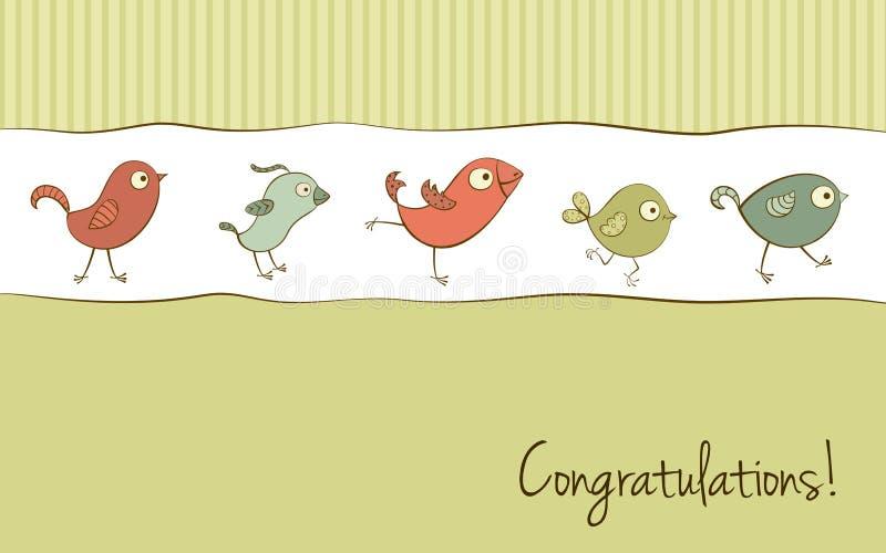 Tarjeta de felicitación divertida de los pájaros ilustración del vector