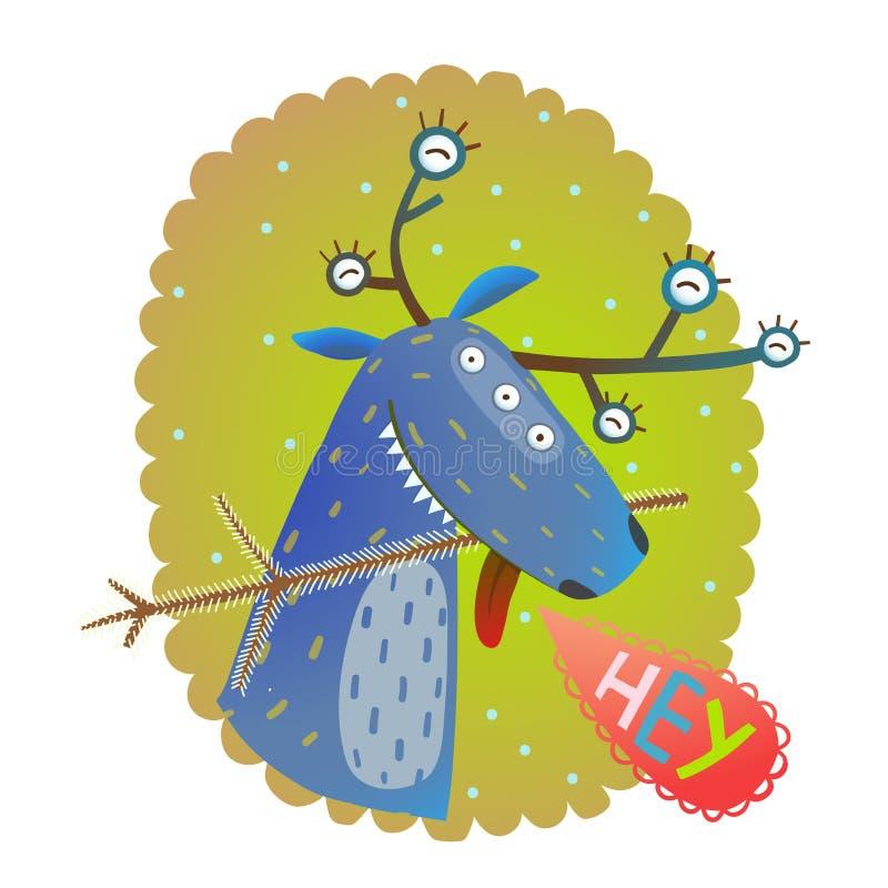 Tarjeta de felicitación divertida del Año Nuevo de Chrismas del reno del monstruo stock de ilustración